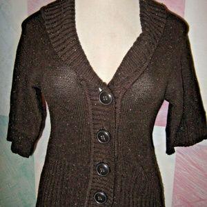 Dark Brown Fleck Big Buttons Rib Edge Sweater S